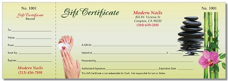 gift certificate with stub